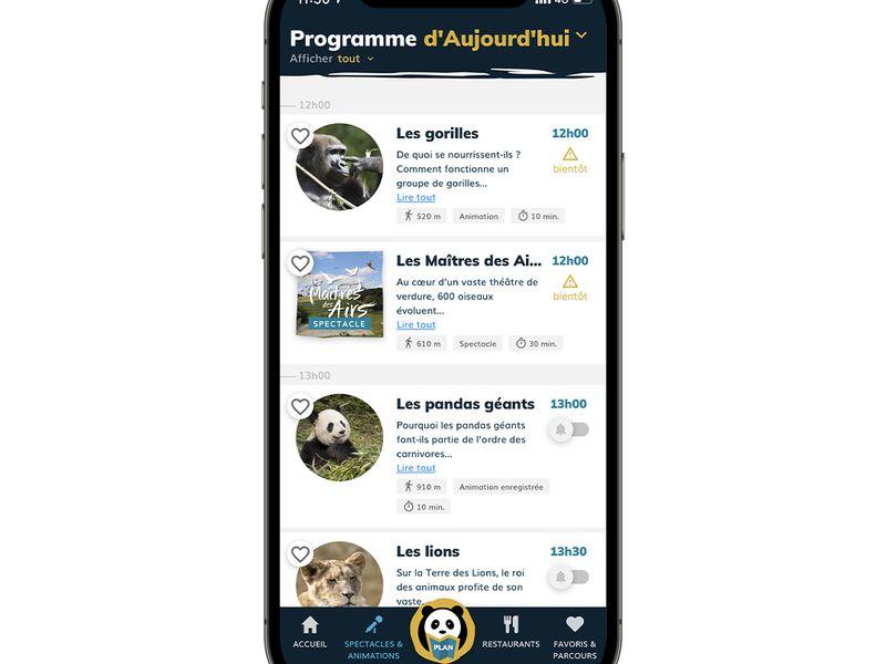 Animations - Application mobile du ZooParc de Beauval
