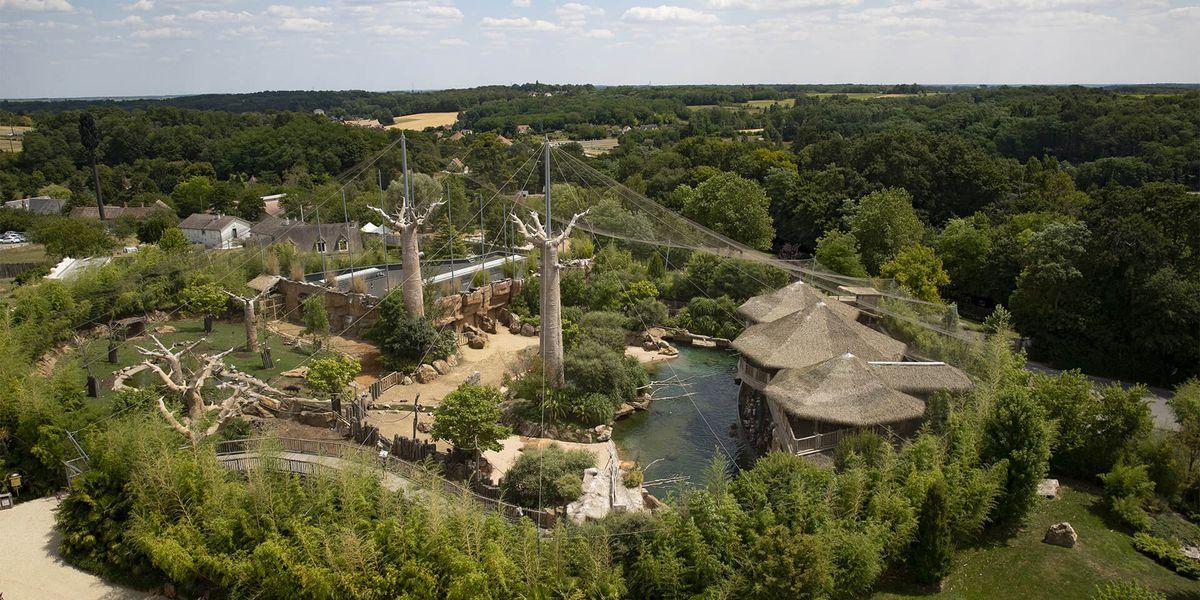 Télécabine du ZooParc de Beauval - Vue de La Réserve des Hippopotames - Nuage de Beauval