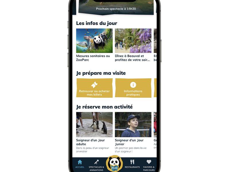 Page d'accueil - Application mobile du ZooParc de Beauval
